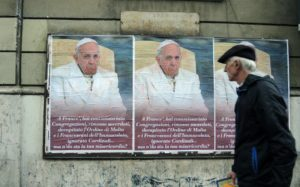 Posters criticizing pope Francis on a wall in Rome, Italy, 04 February 2017. Below the photograph of the pope is the following caption: 'You've put congregations under supervision, removed priests, decapitated the Maltese and Franciscan orders and ignored cardinals... But where is your compassion?' Francis' main message as pope has been compassion. His reformist policies are meeting resistance within the church. Photo: Lena Klimkeit/dpa